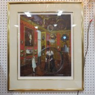 Vintage mid-century modern Salomoni surrealist lithograph woman in a bubble – $395