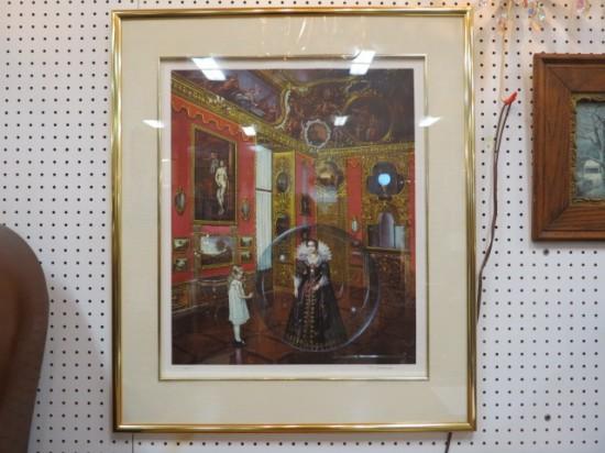 Vintage mid-century modern Salomoni surrealist lithograph woman in a bubble – $395