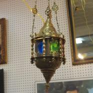 Vintage antique small brass lantern chandelier from Syria – $175