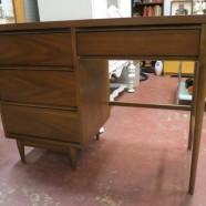 Vintage mid-century modern 4 drawer walnut desk – $289