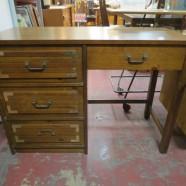 Vintage mid-century modern Bassett walnut campaign style desk – $195