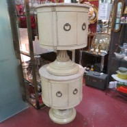 Vintage antique pair of round marble top side cabinets – $295 pair