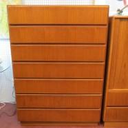 Vintage Danish modern large 7 drawer teak chest – $795