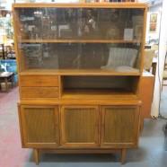 Vintage mid-century modern walnut 2 piece cabinet – $295