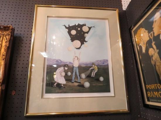 Vintage mid-century modern Tito Salomoni surrealist lithograph – $295