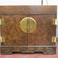 SALE!  Vintage mid-century modern burled walnut oriental nightstand / side table – $80