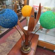 Vintage mid-century modern walnut 3 arm flower table lamp – $375