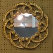 Vintage scallop gilt round mirror – $60