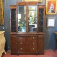 SALE! Vintage antique mirror front mahogany breakfront cabinet – $450