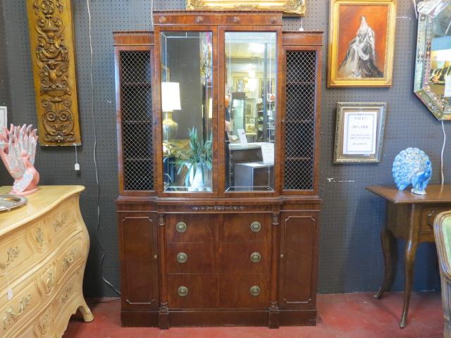 Vintage antique mirror front mahogany breakfront cabinet – $450 - SALE! Vintage Antique Mirror Front Mahogany Breakfront Cabinet - $450