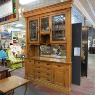 Vintage antique Victorian large oak built in with stained glass – $2500