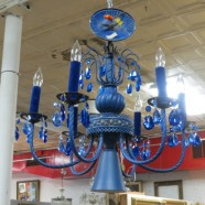 Vintage antique 6 arm chandelier with blue crystals – $225