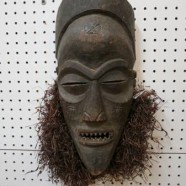 SALE! Vintage antique carved wood African Chokwe mask – $395