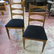 Vintage mid-century modern pair of lane walnut chairs – $195 pair