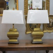 Vintage antique pair of Chinese brass lamps – $400 pair