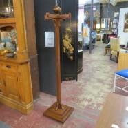 Vintage antique unusual solid mahogany inlaid coat rack – $200
