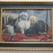 Vintage large oil painting of 3 dogs – $250
