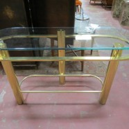 Vintage mid-century modern brass console table – $300