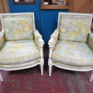 Vintage antique pair of French style Tomlinson arm chairs – $600 pair
