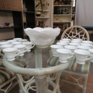 Vintage antique milk glass grapes pattern 25pc. punchbowl set – $150 set