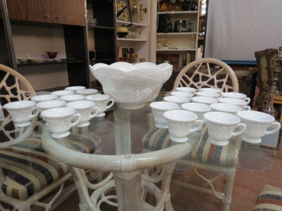 SALE! Vintage antique milk glass grapes pattern 25pc. punchbowl set – $120