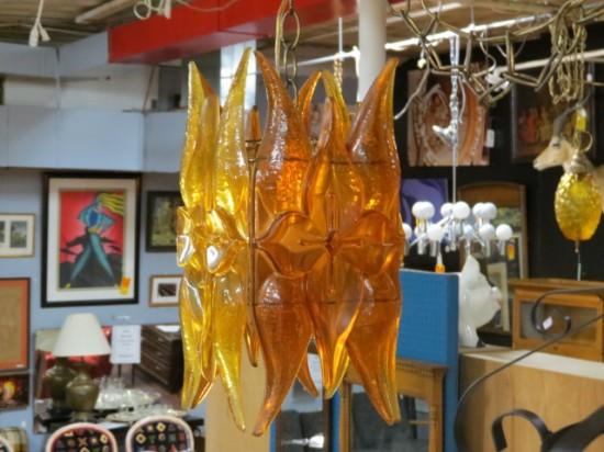 Vintage mid-century modern orange Lucite swag lamp – $245