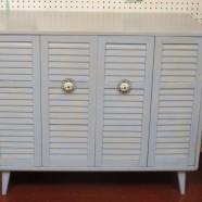 Vintage mid-century modern painted 2 door cabinet – $325