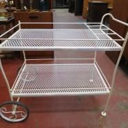 Vintage antique white wrought iron bar cart – $199