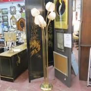 Vintage mid-century modern 5 flower brass floor lamp – $165
