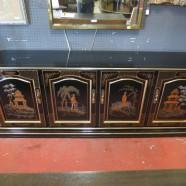 Vintage antique black lacquer Chinese 4 door credenza – $495