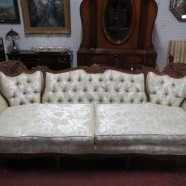 Vintage antique carved walnut French style sofa – $395