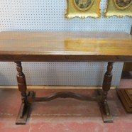 Vintage antique solid walnut Jacobean sofa table / console table – $165