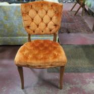 SALE! Vintage antique tufted orange velvet French style walnut chair – $70