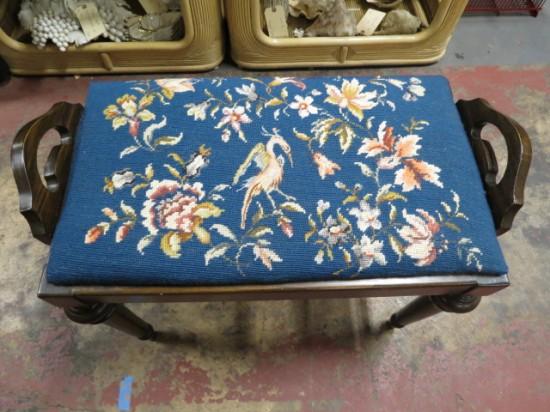 Vintage antique needlepoint walnut bench – $75