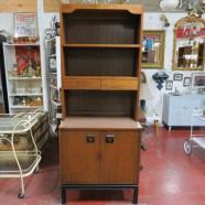 SALE!  Vintage mid-century modern 2pc. walnut bookcase/hutch cabinet- $275