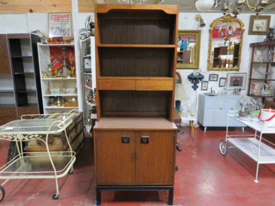 SALE!  Vintage mid-century modern 2pc. walnut bookcase/hutch cabinet- $275