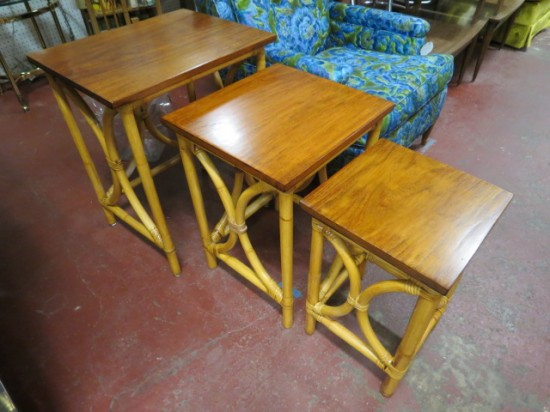 Vintage mid-century modern set of 3 rattan and wood  nesting tables – $125 set