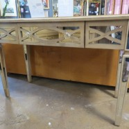 SALE! Vintage mirrored console table / desk – $295
