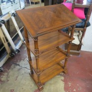 Vintage antique fruitwood library stand with book rest – $150