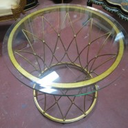 Vintage gold round wire side table – $350