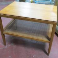 SALE! Vintage mid-century modern walnut side table with cane shelf – $70