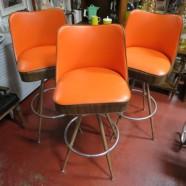 Vintage mid-century modern set of 3 orange bar stools – $199 set