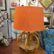 SALE!  Vintage mid-century modern rattan lamp with orange rattan shade – $75
