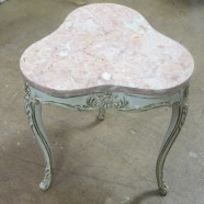 Vintage antique small French style table with marble top – $175