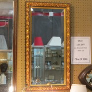 Vintage antique gold wood carved mirror – $90