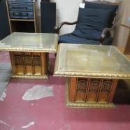 Vintage antique pair of gold gilt tables – $225 pair