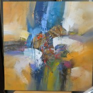 Vintage abstract oil painting on canvas – $250