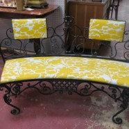 Vintage antique Victorian black wrought iron bench – $345