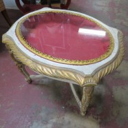 Vintage antique French style gilt carved display top side table – $125