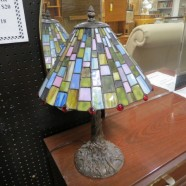SALE! Vintage antique style geometric stained glass lamp – $150